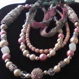 Pink Multi Layered Necklace. Fashion Necklace.